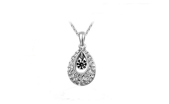 Crystal Pendants Necklaces Water Drop Austrian Rhinestone Necklaces