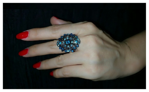 Vintage Charming Blue Stone Ring Retro Design For Women(Resizable)