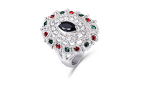 Vintage Big Crystal Imitation Ruby Platinum Plated Rings For Women (7)