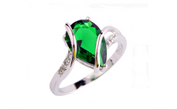 Absorbing Green Emerald Quartz 925 Silver Ring for Women