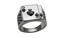 New Men's 18k White Gold Plated Black Enamel Spades Poker Ring-Size-7