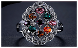 Antique Silver Plated Top Quality Shinning Crystal Vintage Retro Ring