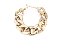 Women's Fashion Punk Burnished Link Curb Chain Bracelet