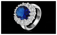 Princess Diana William Platinum Plated AAA Blue Cubic Zirconia Ring