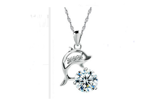 Dolphins Rhinestone and Cubic Zirconia Silver Plated Pendant Necklace