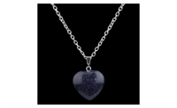 Crystal Blue Sodalite Natural Stone Heart Necklace