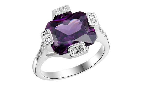 New Fashion Silver Plated Wedding Square Purple Paved Ring