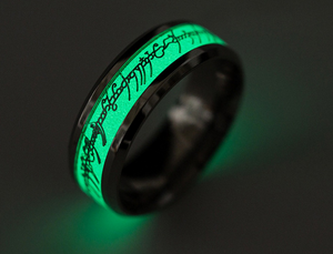 *Glow in the Dark Stainless Steel Lord of the Rings Men's Ring