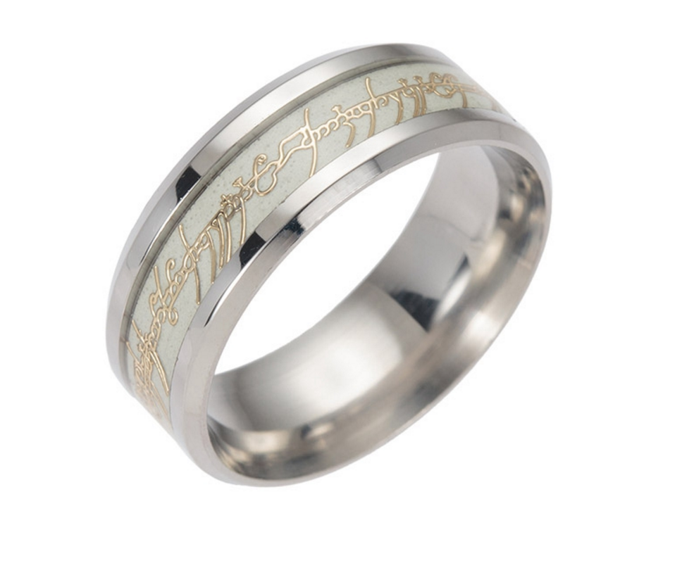 Glow in the Dark Stainless Steel Lord of the Rings' Men's Ring