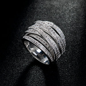 AAA Zircon Crystal Multi layer Silver Ring