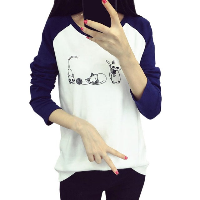 Cartoon Cat Printed T-shirt