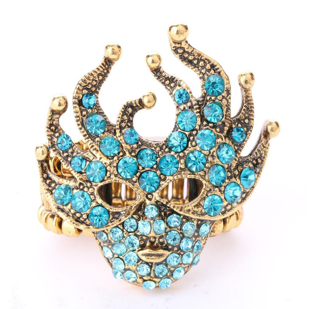 New Elegant Women's Luxury Masquerade Mask Crystal Adjustable Ring