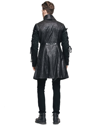 Gothic Steampunk Black Mens Faux Leather Raver Jacket