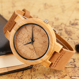 Elegant Cat Dial Design Hand-made Wood Watches w/ Genuine Leather Band for Women & Girls