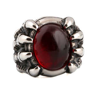 Ruby Inspired Claw Men's Luxury Agate Inlaid Titanium Steel Man's Ring