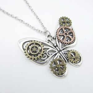 Butterfly with Gears Wings DIY Women`s  Necklace