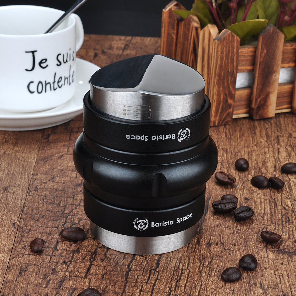 Double Layer Adjustable Coffee Distributor Tool 58Mm Coffee Distributor Exquisite Workmanship Easy Cleaning Pressing Tool 4 Angled Slopes Black Stainless Steel Coffee Tamper