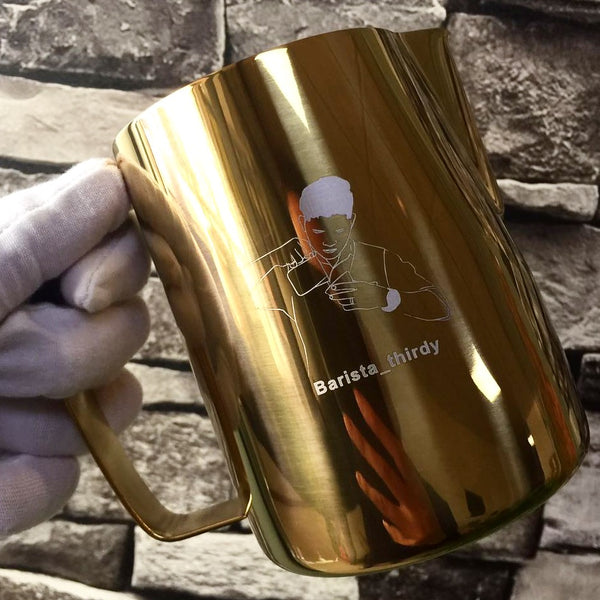 Gold Milk Pitcher with customized Logo For Baristas