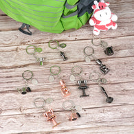 10pcs/Set Coffee key chains Family for Barista Espresso Accessories