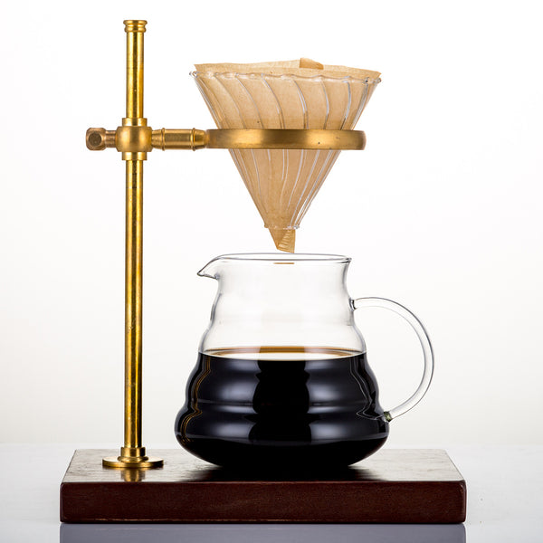 Alternative Height Copper Filter Coffee Brewing Holder with Solid Wood Base