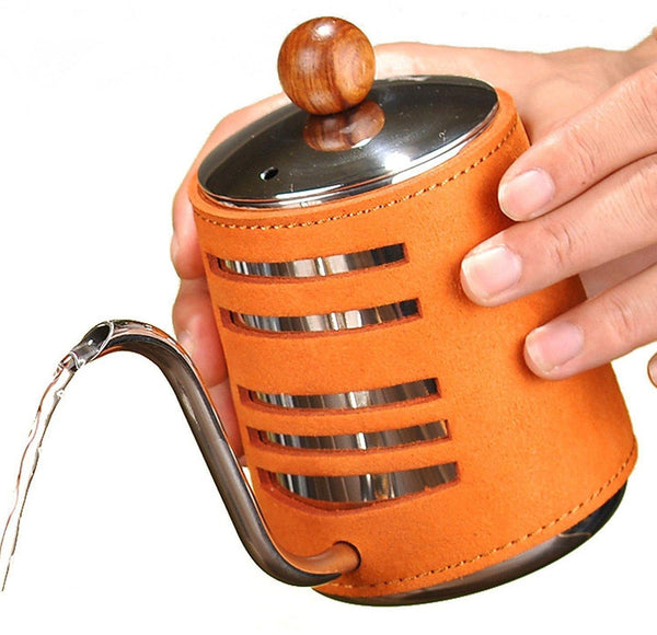 Pour Over Coffee Hand-Free Drip Kettle with Leather Wrapped