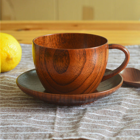 250ML WOODEN ESPRESSO COFFEE CUP JUJUBE WOOD MILK MUG+SPOON+CUP SAUCER SET from www.baristaspace.com