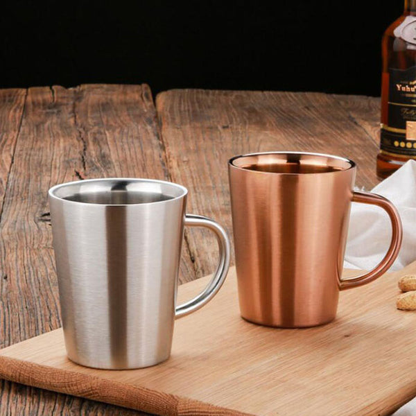 6pcs Double Layer 304 Stainless Steel Rose Gold Silver Mugs