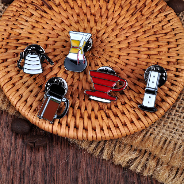 5pcs/Set Coffee Barista Pins Accessories Brooches Cosplay Small Decoration