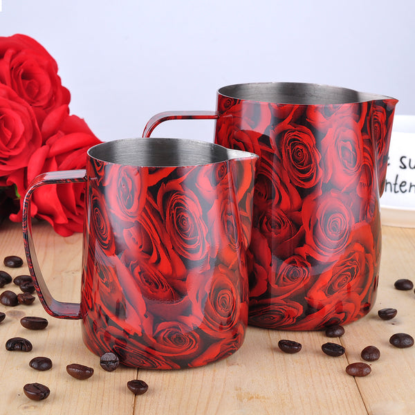 Espresso Coffee Frothing jug- BaristaSpace 1.0 Plus Red Rose Style