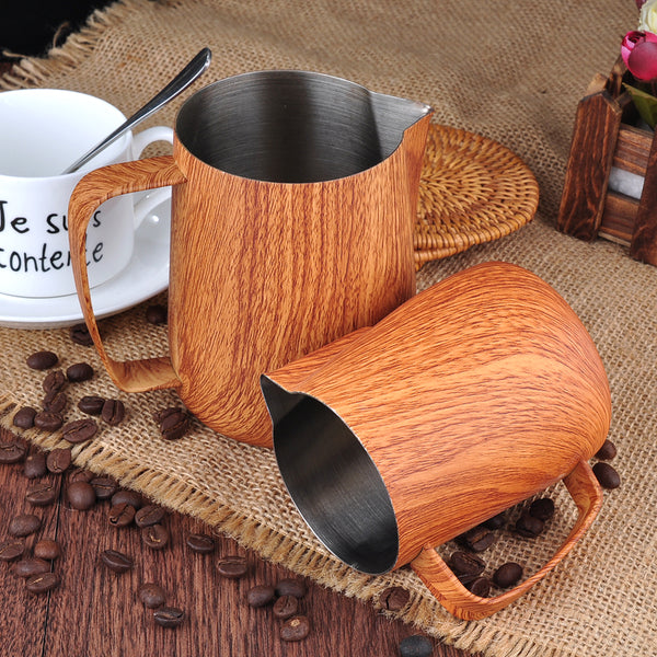 Wooden Color Latte Art Milk pitcher-BaristaSpace 1.0 Plus