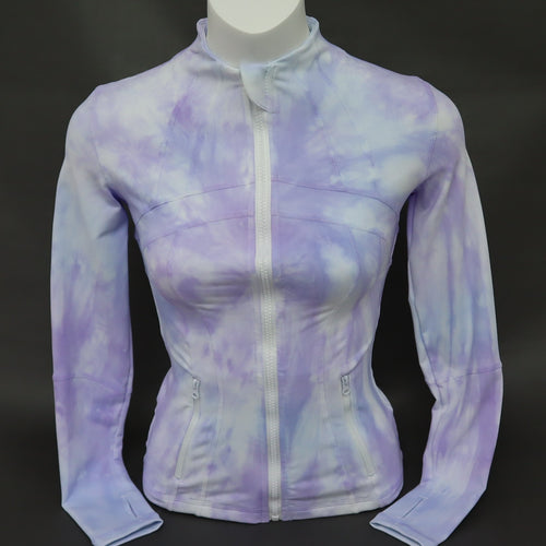 Ladies Fitness Jacket - Blue Lilac Violet Pink White Marble