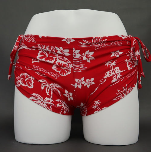 Yoga Shorts - Red Hawaii