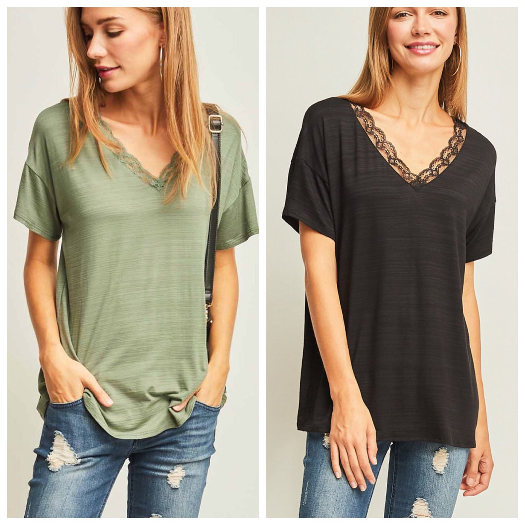 Liza Lace Tees (2 Colors!) SALE
