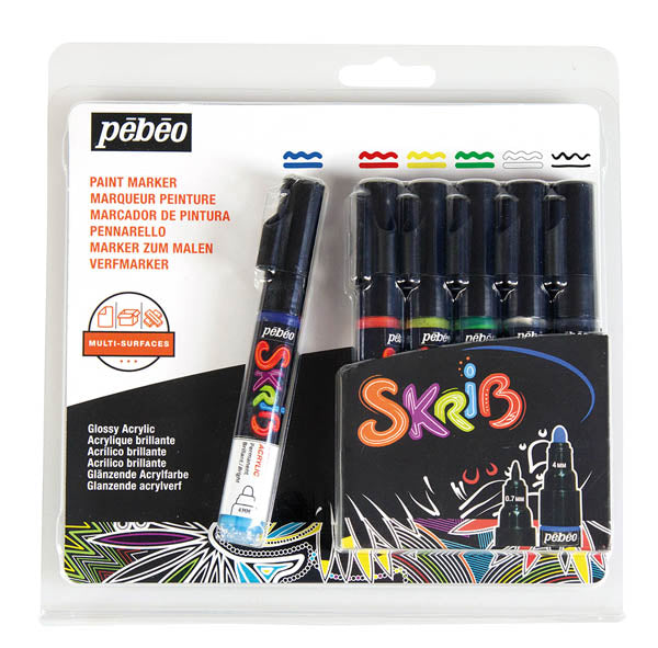 Pebeo Skrib Acrylic Markers Set of 6-Classic - Me Books Store