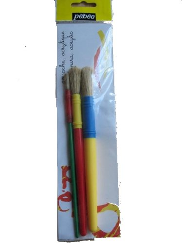 PEBEO Brush Set Small + Medium + Large Round White Bristle 3s  - Me Books Store