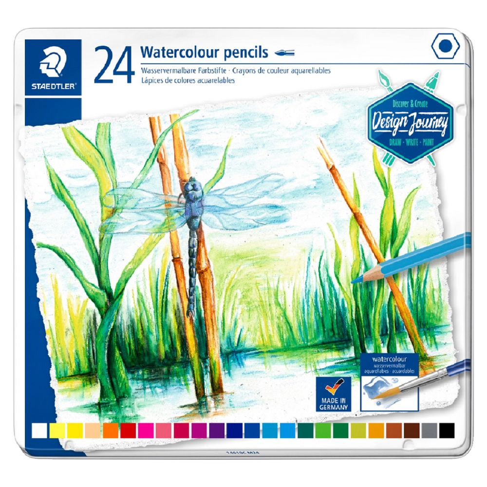 Staedtler Watercolour Pencils-in Metal Tin 24 colour - Me Books Store