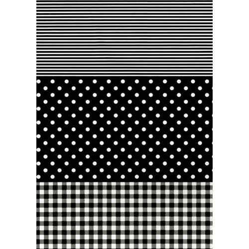 Decopatch Paper:Gingham/Dots/Stripes 485-Black - Me Books Asia Store