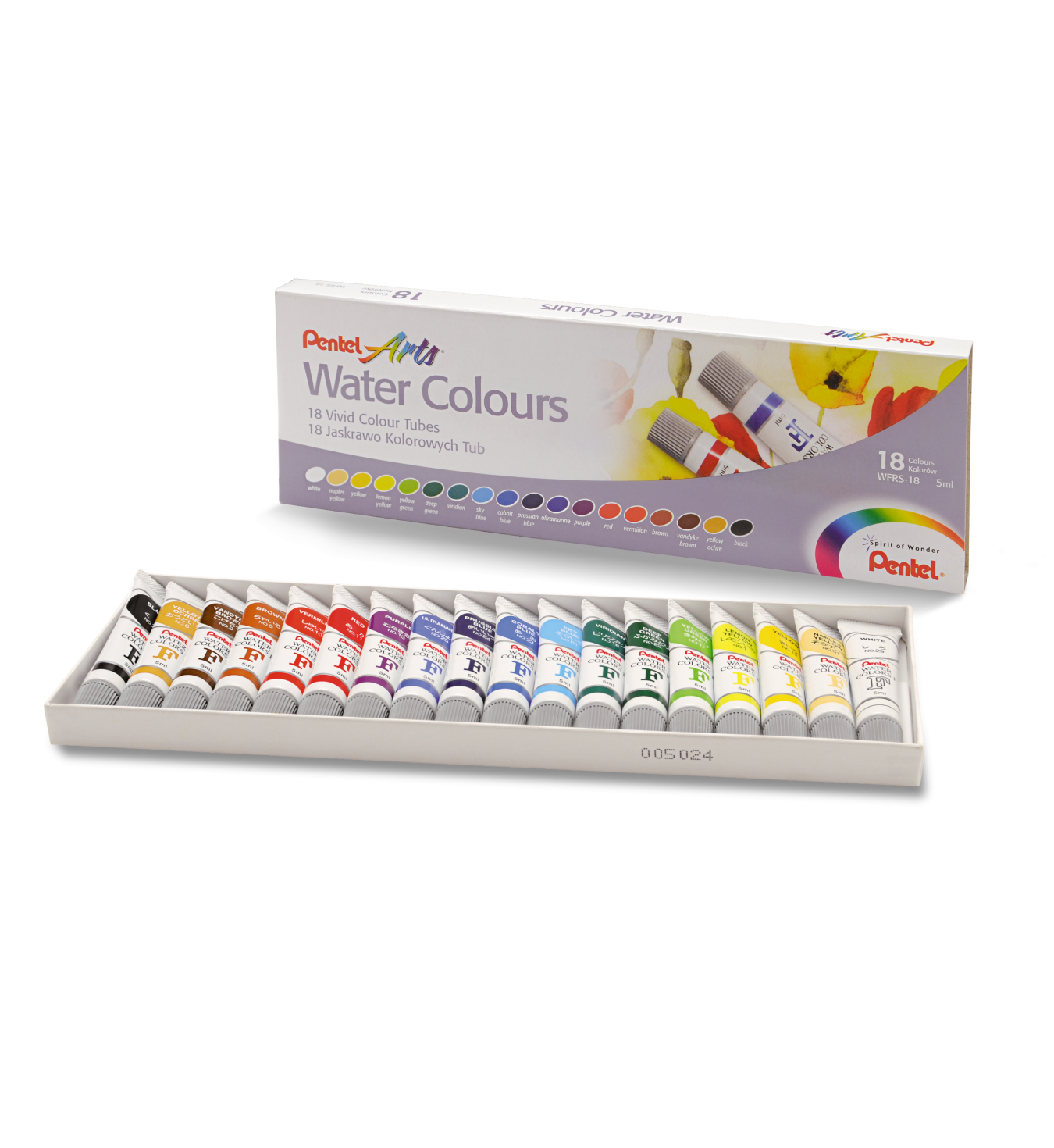 Pentel Arts Watercolour 5ml-18 Cols - Me Books Store