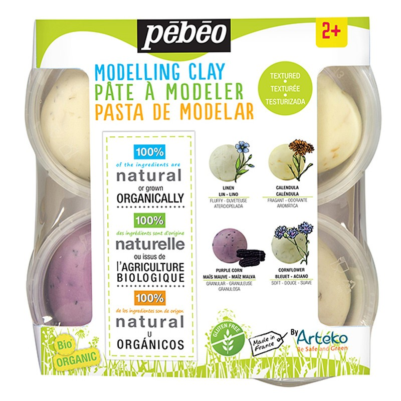 PEBEO Modelling Clay Textured Clay Discover Set of 4 - Me Books Store