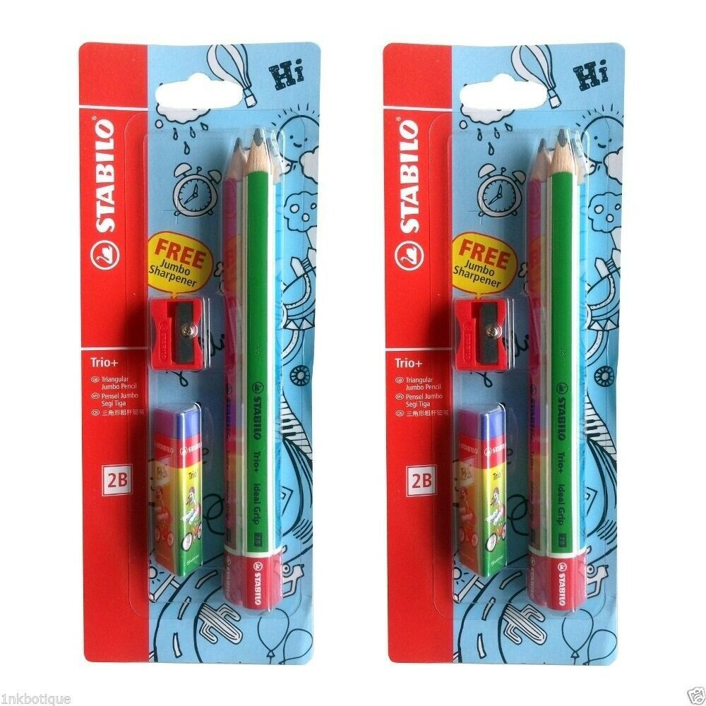 Stabilo Trio+ Jumbo Pencil 2B Blister 3s+4562+1199 - Me Books Store