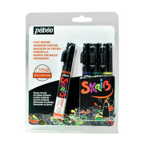 Pebeo Skrib Acrylic Markers Set of 4-Grafitti - Me Books Store