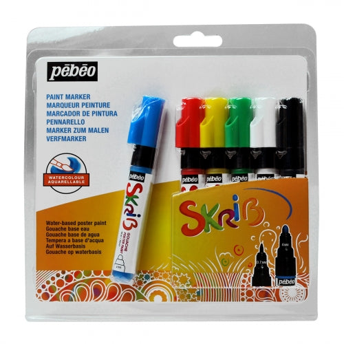 Pebeo Skrib Gouache Markers Set of 6-Classic - Me Books Store