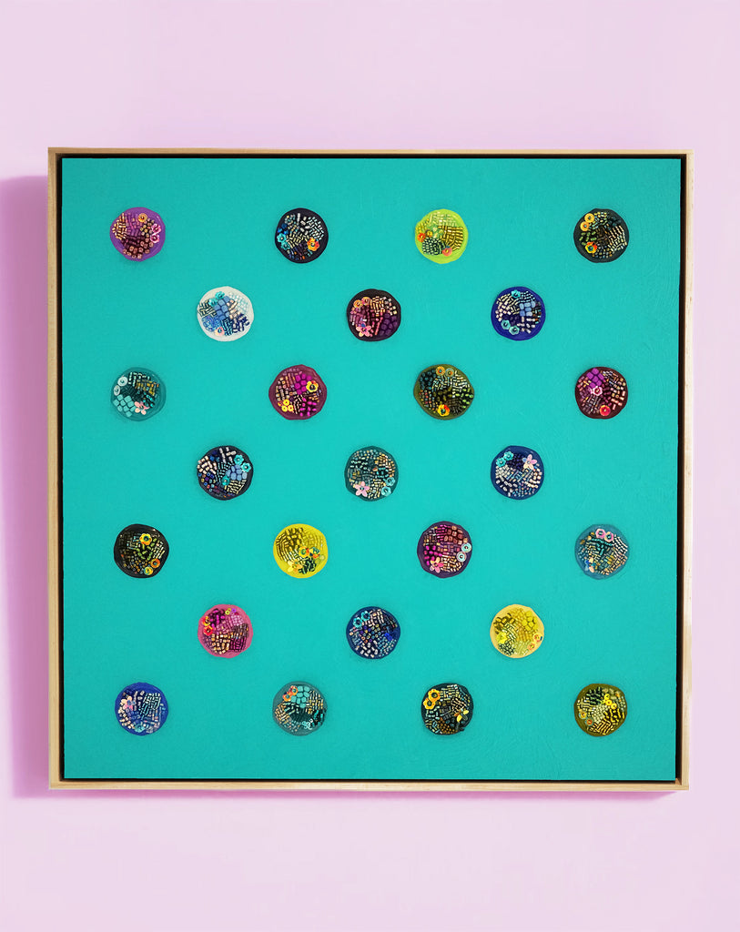 "Identity Dots No. 10 -17.25"" X 17.25"" X 2.5"" Framed"