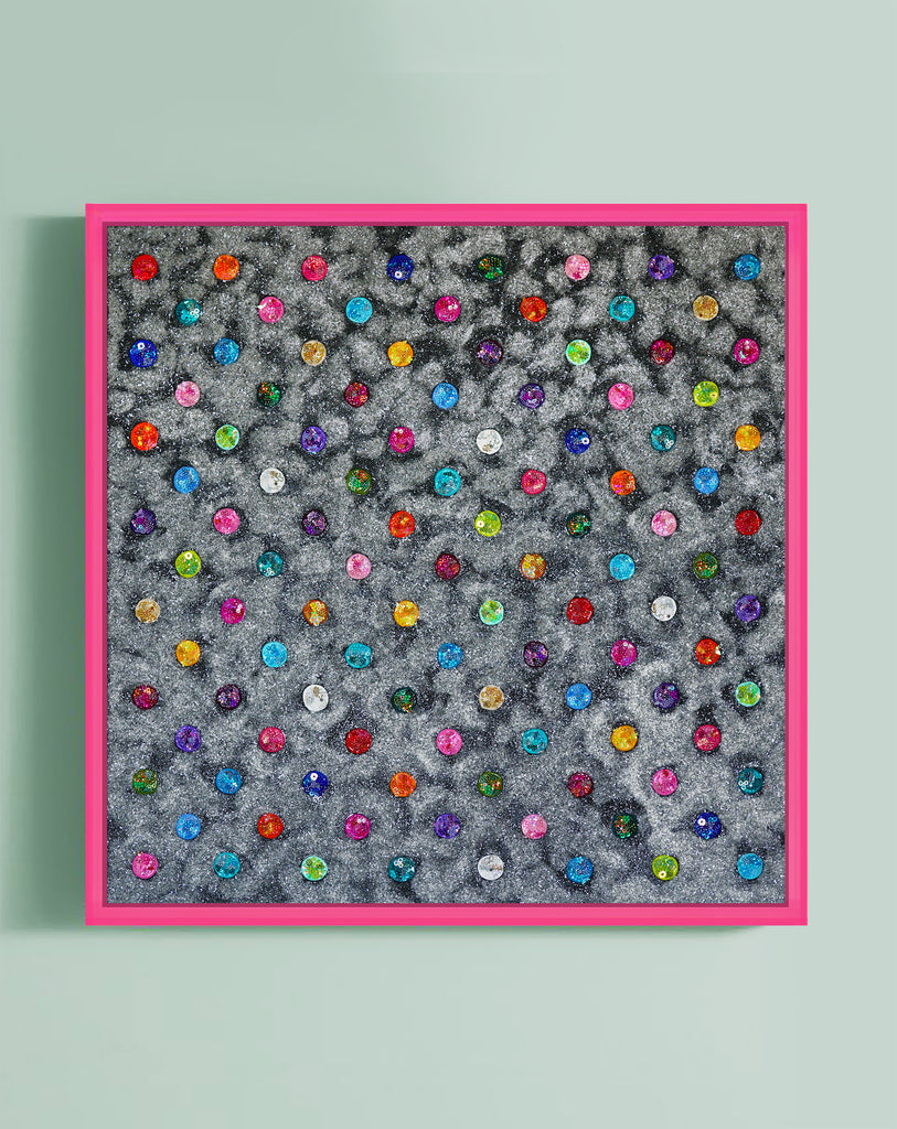 "Identity Dots No. 12 -38"" X 38"" X 3"" Framed"