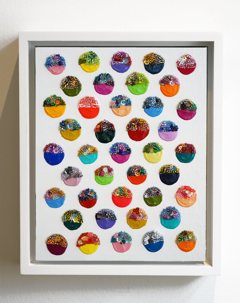 "Identity Dots No. 2 -11.5"" X 9.5"" X 2"" Framed"