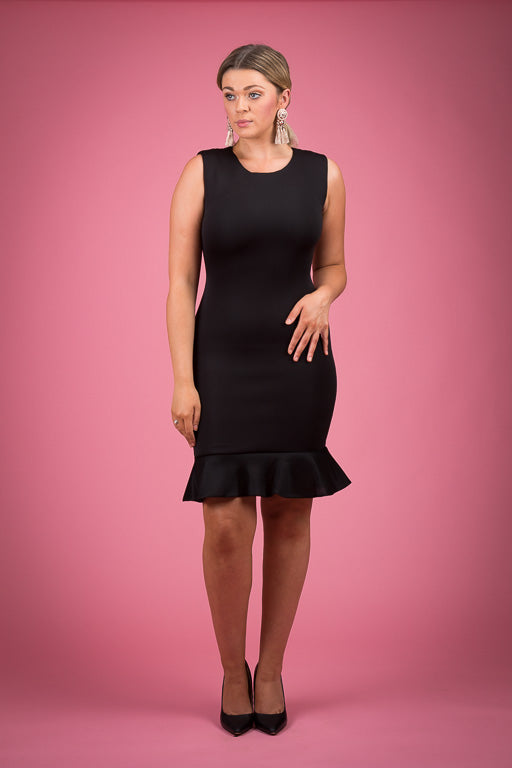 Sleeveless Bodycon Flounced Hemline Dress