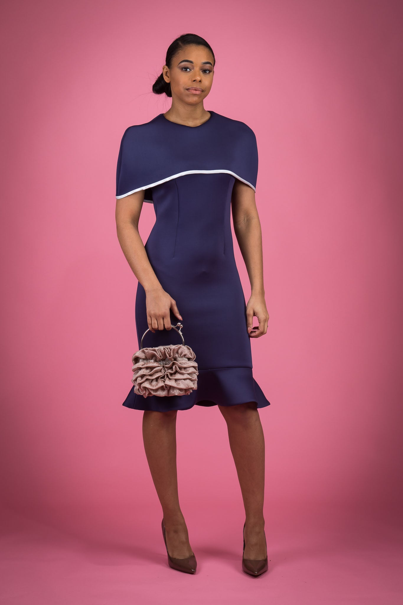 Bodycon Cape Dress With Flounce Hemline with Piping on Cape