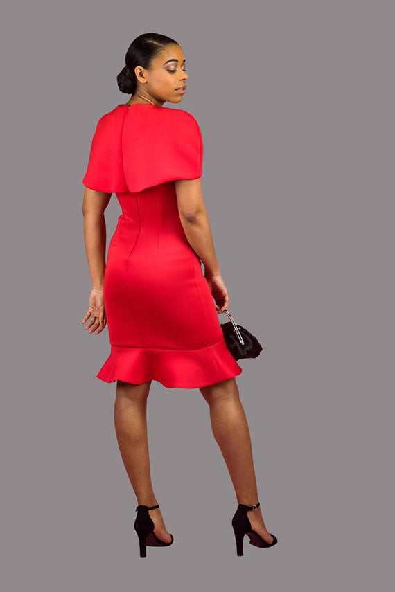 Bodycon Cape Dress With Flounce Hemline