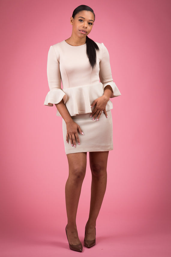 Two Textured Peplum Midi Dress With  Flounced Three Quarter Sleeve