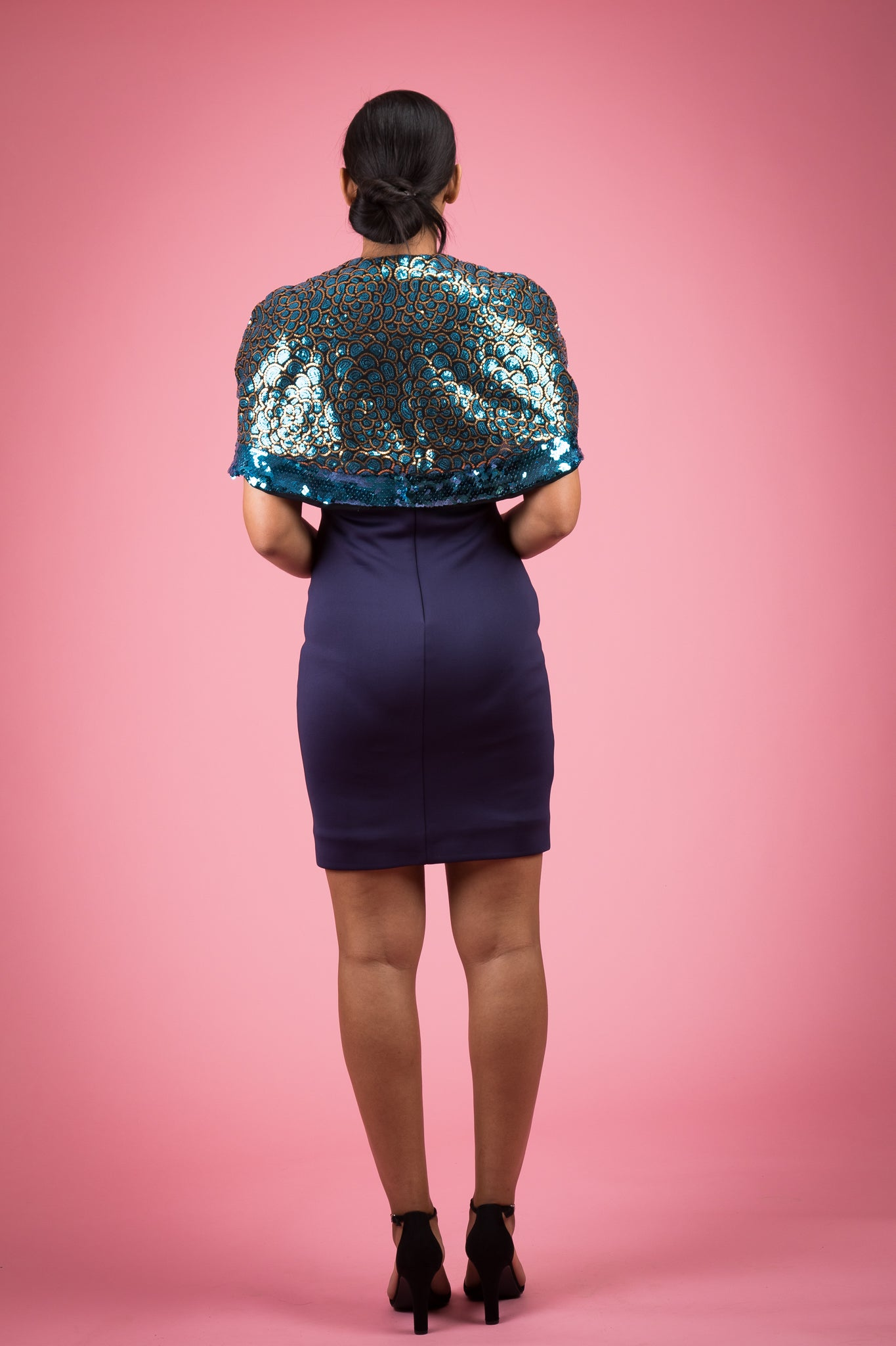 Mermaid Sequin Round Neckline Cape